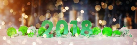2018 new year eve with christmas baubles and candles 3D renderin. 2018 new year eve with green and white christmas baubles and candles 3D rendering Royalty Free Stock Photos