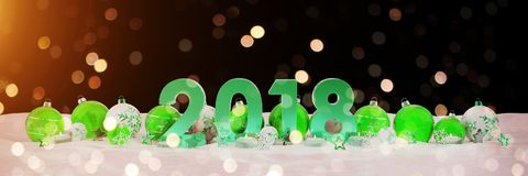 2018 new year eve with christmas baubles and candles 3D renderin. 2018 new year eve with green and white christmas baubles and candles 3D rendering Stock Image