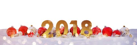 2018 new year eve with christmas baubles and candles 3D renderin. 2018 new year eve with red and white christmas baubles and candles 3D rendering Royalty Free Stock Photo