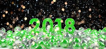2018 new year eve with christmas baubles 3D rendering. 2018 new year eve with green and white christmas baubles 3D rendering Royalty Free Stock Image