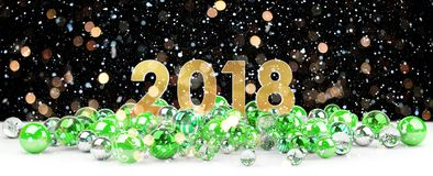 2018 new year eve with christmas baubles 3D rendering. 2018 new year eve with green and white christmas baubles 3D rendering Stock Images