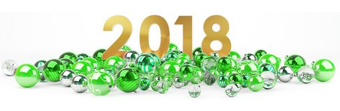 2018 new year eve with christmas baubles 3D rendering. 2018 new year eve with green and white christmas baubles 3D rendering Stock Photo