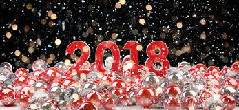 2018 new year eve with christmas baubles 3D rendering. 2018 new year eve with red and white christmas baubles 3D rendering Stock Image