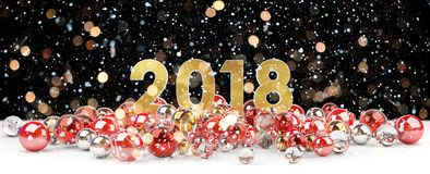 2018 new year eve with christmas baubles 3D rendering. 2018 new year eve with red and white christmas baubles 3D rendering Royalty Free Stock Photo
