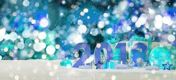 2018 new year eve with christmas baubles and gifts 3D rendering. 2018 new year eve with blue and white christmas baubles and gifts 3D rendering Royalty Free Stock Photography
