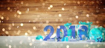 2018 new year eve with christmas baubles and gifts 3D rendering. 2018 new year eve with blue and white christmas baubles and gifts 3D rendering Stock Image