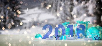 2018 new year eve with christmas baubles and gifts 3D rendering. 2018 new year eve with blue and white christmas baubles and gifts 3D rendering Royalty Free Stock Photos