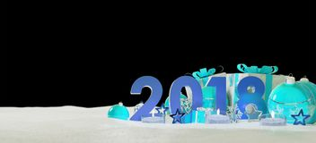 2018 new year eve with christmas baubles and gifts 3D rendering. 2018 new year eve with blue and white christmas baubles and gifts 3D rendering Stock Photo