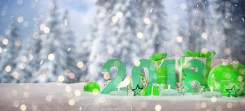 2018 new year eve with christmas baubles and gifts 3D rendering. 2018 new year eve with green and white christmas baubles and gifts 3D rendering Royalty Free Stock Photos