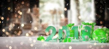 2018 new year eve with christmas baubles and gifts 3D rendering. 2018 new year eve with green and white christmas baubles and gifts 3D rendering Stock Illustration