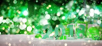 2018 new year eve with christmas baubles and gifts 3D rendering. 2018 new year eve with green and white christmas baubles and gifts 3D rendering Stock Photography