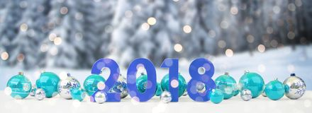 2018 new year eve with christmas baubles lined up 3D rendering. 2018 new year eve with blue and white christmas baubles on snow background 3D rendering Royalty Free Stock Images