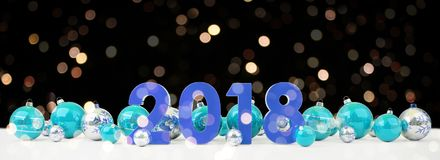 2018 new year eve with christmas baubles lined up 3D rendering. 2018 new year eve with blue and white christmas baubles on snow background 3D rendering Stock Image
