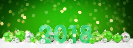 2018 new year eve with christmas baubles lined up 3D rendering. 2018 new year eve with green and white christmas baubles on snow background 3D rendering Stock Photos