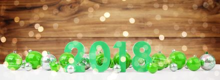 2018 new year eve with christmas baubles lined up 3D rendering. 2018 new year eve with green and white christmas baubles on snow background 3D rendering Royalty Free Stock Photos