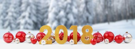 2018 new year eve with christmas baubles lined up 3D rendering. 2018 new year eve with red and white christmas baubles on snow background 3D rendering Royalty Free Stock Photo