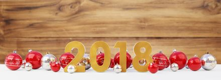 2018 new year eve with christmas baubles lined up 3D rendering. 2018 new year eve with red and white christmas baubles on snow background 3D rendering Royalty Free Stock Images