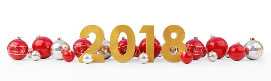 2018 new year eve with christmas baubles lined up 3D rendering. 2018 new year eve with red and white christmas baubles on snow background 3D rendering Stock Image