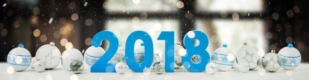 2018 new year eve with christmas baubles lined up 3D rendering. 2018 new year eve with white and blue christmas baubles on snow background 3D rendering Royalty Free Stock Photography