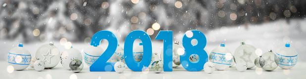 2018 new year eve with christmas baubles lined up 3D rendering. 2018 new year eve with white and blue christmas baubles on snow background 3D rendering Royalty Free Stock Image