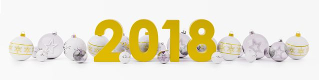 2018 new year eve with christmas baubles lined up 3D rendering. 2018 new year eve with white and gold christmas baubles on snow background 3D rendering Royalty Free Stock Photos