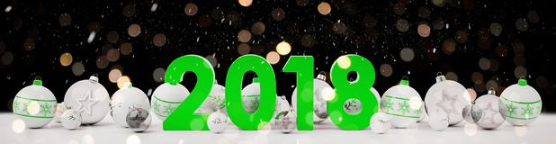 2018 new year eve with christmas baubles lined up 3D rendering. 2018 new year eve with white and green christmas baubles on snow background 3D rendering Royalty Free Stock Photography