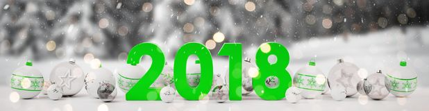 2018 new year eve with christmas baubles lined up 3D rendering. 2018 new year eve with white and green christmas baubles on snow background 3D rendering Stock Photos