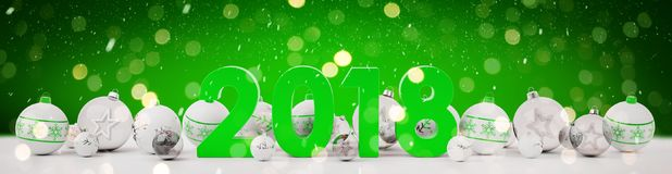 2018 new year eve with christmas baubles lined up 3D rendering. 2018 new year eve with white and green christmas baubles on snow background 3D rendering Stock Photography