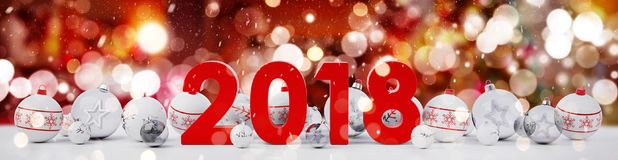2018 new year eve with christmas baubles lined up 3D rendering. 2018 new year eve with white and red christmas baubles on snow background 3D rendering Royalty Free Stock Photography