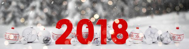 2018 new year eve with christmas baubles lined up 3D rendering. 2018 new year eve with white and red christmas baubles on snow background 3D rendering Royalty Free Stock Photos