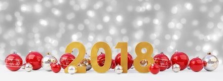 2018 new year eve with christmas baubles lined up 3D rendering. 2018 new year eve with red and white christmas baubles on snow background 3D rendering Stock Photography