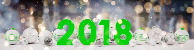 2018 new year eve with christmas baubles lined up 3D rendering. 2018 new year eve with white and green christmas baubles on snow background 3D rendering Stock Image