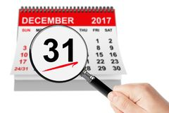 New Year Eve Concept. 31 December 2017 calendar with magnifier Stock Images