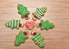 New year eve cookies with heart circle. Royalty Free Stock Image