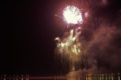 New Year Eve Corniche Fireworks Royalty Free Stock Photos