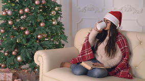 New year eve female relaxing in flat. stock video footage