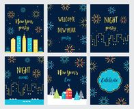 New Year Eve Fireworks Celebration. Cards and Invitations Set. Vector Design. New Year Fireworks Celebration. Cards and Invitations Set. Vector Design Royalty Free Stock Images
