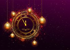 New Year Eve gold clock with Roman numerals Stock Photo