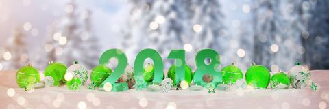 2018 new year eve with christmas baubles and candles 3D renderin. 2018 new year eve with green and white christmas baubles and candles 3D rendering royalty free illustration