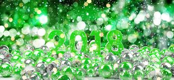 2018 new year eve with christmas baubles 3D rendering. 2018 new year eve with green and white christmas baubles 3D rendering Stock Image