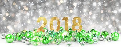 2018 new year eve with christmas baubles 3D rendering. 2018 new year eve with green and white christmas baubles 3D rendering Royalty Free Stock Photography
