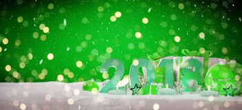 2018 new year eve with christmas baubles and gifts 3D rendering. 2018 new year eve with green and white christmas baubles and gifts 3D rendering Stock Photos