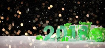 2018 new year eve with christmas baubles and gifts 3D rendering. 2018 new year eve with green and white christmas baubles and gifts 3D rendering Royalty Free Stock Photography