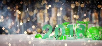 2018 new year eve with christmas baubles and gifts 3D rendering. 2018 new year eve with green and white christmas baubles and gifts 3D rendering Stock Photo