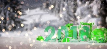 2018 new year eve with christmas baubles and gifts 3D rendering. 2018 new year eve with green and white christmas baubles and gifts 3D rendering Stock Images