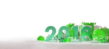 2018 new year eve with christmas baubles and gifts 3D rendering. 2018 new year eve with green and white christmas baubles and gifts 3D rendering Stock Image