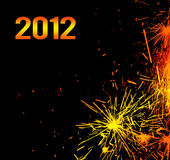 New Year eve holiday background. With fireworks border, colorful sparks isolated on black background with text copy space royalty free illustration