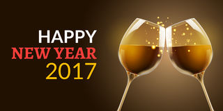 New Year eve 2017. Holiday illustration of two wine glasses. Drink luxury celebration of new year. Vector party alcohol Royalty Free Stock Images