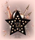 New year eve invitation card with christmas decorations and confetti. Vector illustration Stock Photo