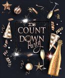 New year eve invitation card with deco objects and sparkler frame. Vector illustration Stock Images